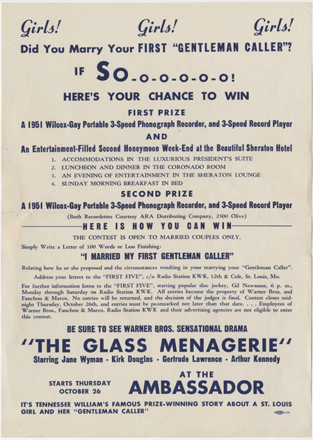 Promotional poster for marketing contest related to the film 'The Glass Menagerie.'