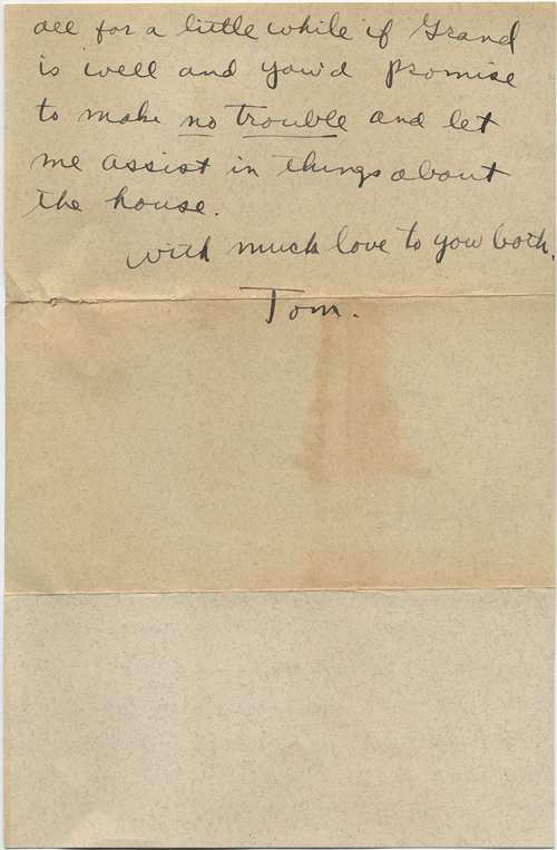 Page two of a letter in which Tennessee Williams asks his grandfather to send his application letter to the Rockefeller Foundation from Memphis, rather than St. Louis. Copyright ©2011 by the University of the South. Reprinted by permission of Georges Borchardt, Inc. All rights reserved.