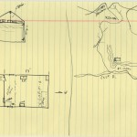 Map of Yates's Post River cabin and surrounding area drawn by Warren Skaaren.