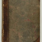 Deteriorated leather and marbled paper cover of printed reproductions of forged Shakespearian manuscripts.
