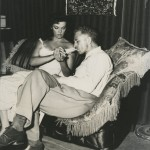 """Nicholas Ray and Jane Russell on the set of """"Hot Blood"""" (1956)."""