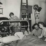 """Nicholas Ray directing Sumner Williams and Ida Lupino in """"On Dangerous Ground"""" (1952)."""