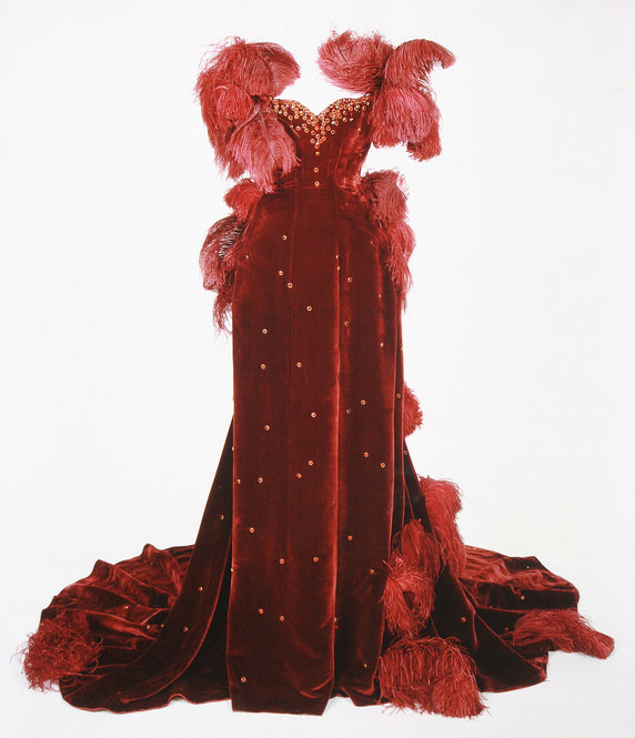 """Weights removed from red burgundy dress from """"Gone With The Wind"""" to prevent damage"""