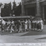 "Photo of the 24 girls on the summer 1953 ""European Art Tour Planned for Cultural Values."""