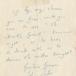 "The note Graham Greene and John Sutro sent to Mary and Margy inviting them to see ""The Devil's General."""
