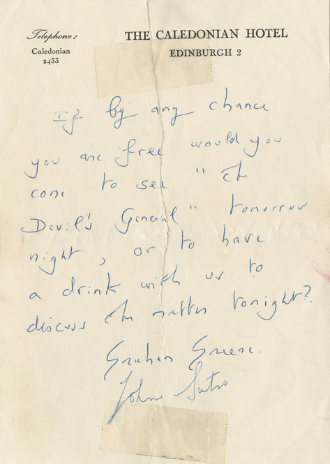 """The note Graham Greene and John Sutro sent to Mary and Margy inviting them to see """"The Devil's General."""""""