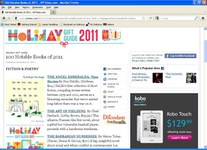 "Win a signed book by a writer on the New York Times ""100 Notable Books of 2011"" list"
