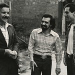 "Production still of Paul Schrader, Martin Scorsese, and Robert De Niro on the set of ""Taxi Driver"" (1976)."