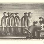 "Unemployed Line, Omaha, Nebraska. 1935. 8 7/8"" x 16"""