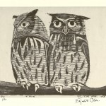 "Two Owls. 1938. 12 1/8"" x 16"""