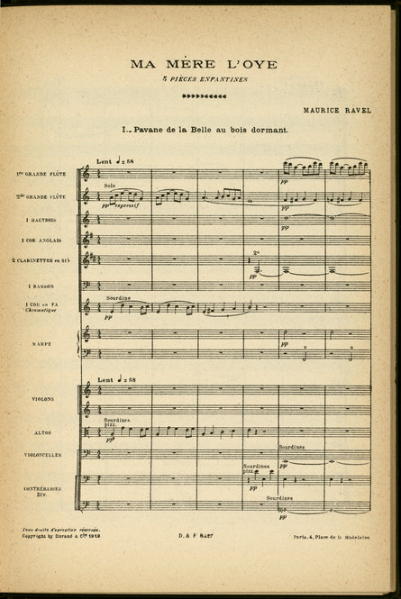 "First page of Maurice Ravel's ""Mother Goose"" published score, Durand, 1912."