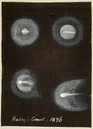 A drawing of Halley's Comet by Caroline Herschel in 1835–1836.
