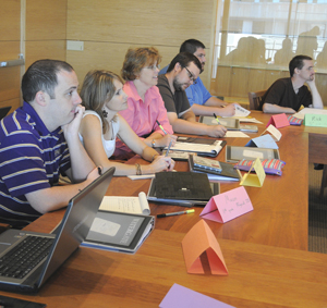 Teachers attend a workshop about using Watergate materials in their classroom in 2011. Photo by Pete Smith.