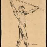 Untitled [Male performer/acrobat], 1931. Ink and brush on paper. ©Tom Lea Institute.