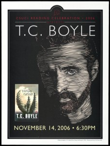 """Promotional poster for a reading of """"The Tortilla Curtain"""" by T. C. Boyle on November 14, 2006."""