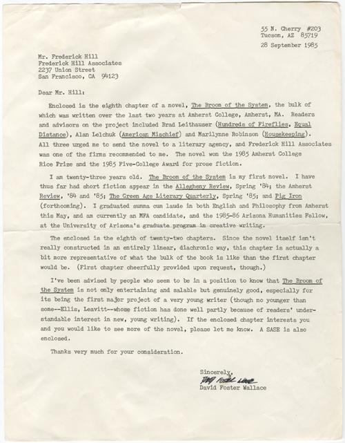 "Letter from David Foster Wallace to Frederick Hill Associates, dated Sept. 28, 1985, containing a chapter from ""Broom of the System."" Bonnie Nadell collection."