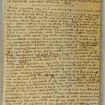 "First page of Charlotte Brontë's manuscript for ""Something About Arthur."" The size of the manuscript papers is 5.7 cm by 9.5 cm (2.5 inches by 3 5/8 inches)."