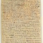 "Second page of Charlotte Brontë's manuscript for ""Something About Arthur."" The size of the manuscript papers is 5.7 cm by 9.5 cm (2.5 inches by 3 5/8 inches)."