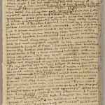 "Third page of Charlotte Brontë's manuscript for ""Something About Arthur."" The size of the manuscript papers is 5.7 cm by 9.5 cm (2.5 inches by 3 5/8 inches)."