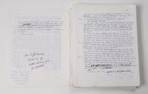 """Pages from annotated typescript """"World's End"""" by T. C. Boyle. Photo by Pete Smith."""