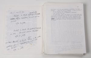 "Pages from annotated typescript ""World's End"" by T. C. Boyle. Photo by Pete Smith."