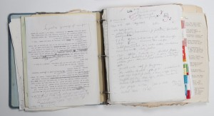 "Binder with research materials and notes for ""World's End"" by T. C. Boyle. Photo by Pete Smith."