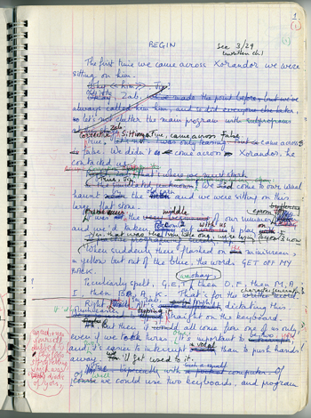 Manuscript for Christine Brooke-Rose's 'Xorandor.' ©Carcanet Press. Image courtesy of Harry Ransom Center.
