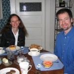 Scholars Vanessa Guignery and Gerd Bayer at breakfast in Campbell's house.