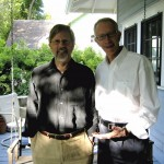 Scholars Ted Bishop and Ira Nadel on Campbell's front porch.