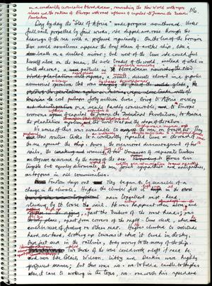 "Handwritten draft of Barry Unsworth's 1992 novel, ""Sacred Hunger."""