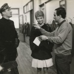 "François Truffaut, Julie Christie, and Oskar Werner on the set of ""Fahrenheit 451"" (1966). Lewis Allen collection."