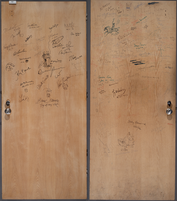 "The ""new"" side (left) and ""old"" side (right) of the authors' door at the Ransom Center. Photos by Pete Smith."