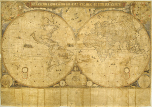 "Joan Blaeu's world map ""Nova Totius Terrarum Orbis Tabula,"" 1648. The Ransom Center's copy, one of only two known to exist and the only colored copy, survives complete with an accompanying text. Photo by Pete Smith."