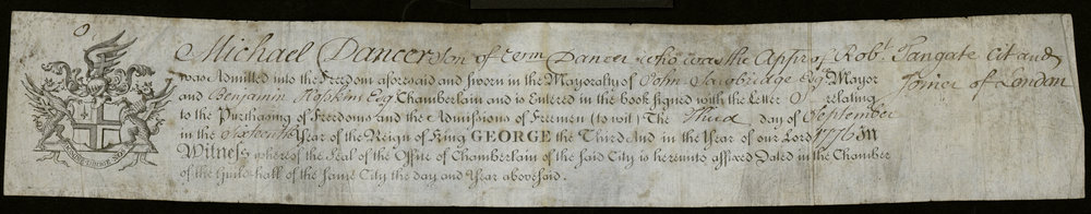 Certificate dated September 3, 1776, admitting Michael Dancer to freedom of the city of London.