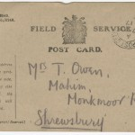 A standard British Army Field Service Postcard sent from Wilfred Owen to his mother, Susan Owen, on April 5, 1917.