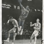 """""""Clipping a Hawk on the Wing"""" (St. Louis Hawks vs. New York Knicks). """"New York Journal-American,"""" February 25, 1961."""