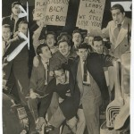 "Long Island University students protesting ban on sports following basketball scandal. Ed Pickwood for ""New York Journal-American,"" ca. 1951."