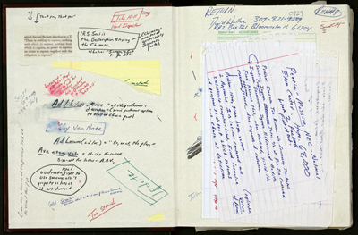 "David Foster Wallace's notebook, which contains reading notes, clippings, and writings related to ""The Pale King."""