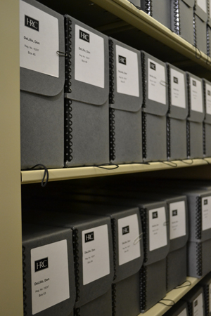 Archival boxes in the Don DeLillo archive at the Harry Ransom Center. Photo by Alicia Dietrich.