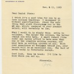 In this letter, Joyce Carol Oates advises Stern on strategies to leave media and advertising work and begin his professorial career. Stern and Oates began and maintained an amiable, professional relationship, and when he began writing short stories in the 1970s, he sent his work to her for publication in her Ontario Review.
