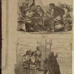 "Unusual scene illustrations from the publisher's wrapper from ""Roberto el diablo,"" 1865."