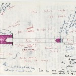 "A drawing by physicist Peter Zimmerman with his and Nicolas Freeling's notes as part of research for ""Gadget,"" 1971–1975."
