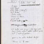 A page with a recipe from one of Nicolas Freeling's journals. 1979.