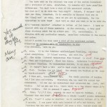 """Nicolas Freeling's 1983 memo with editorial notes relating to """"No Part in Your Death"""" (1984)."""