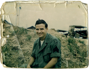 Snapshot of Tim O'Brien in Vietnam. Unknown date and photographer.