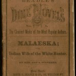 """Malaeska, the Indian Wife of the White Hunter"" by Mrs. Ann Stephens. 1860. In American publishing, one of the most important forerunners of pulp paperback fiction was the dime novel of the late-nineteenth century. ""Malaeska, the Indian Wife of the White Hunter"" is generally considered the first dime novel: it is the first in a series published by the company Beadle and Adams, beginning in 1860. It sold 65,000 copies within three months of publication, setting off a craze for sensational and inexpensive fiction. The Ransom Center houses more than 850 dime novels published by the firm Beadle & Adams in its dime novel collection. The collection includes dime novels by Buffalo Bill Cody, who wrote for the series, as well as the mounted head of a buffalo shot by Cody. There are also dime novels found in the Ellery Queen book collection."