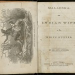 "Title page of ""Malaeska, the Indian Wife of the White Hunter"" by Mrs. Ann Stephens. 1860."