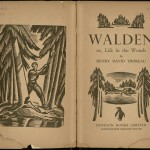 """Walden"" by Henry David Thoreau. 1938. Seeking a new, high-end market, Penguin experimented with a line of Illustrated Classics in 1937. For the first print run, Arthur Lane chose works (such as ""Walden"") that were out of copyright, so the money saved on royalties could be put toward commissioning artists. Lane hired Robert Gibbings, the owner of the Golden Cockerell Press from 1924 to 1933, to become Art Editor for Penguin Illustrated Classics in 1938. Gibbings was an expert on wood engravings and commissioned highly qualified artists to illustrate the novels. Under his direction, the Illustrated Classics books featured elaborately illustrated title pages, each with its own distinct penguin. The Ransom Center holds many of these early pictorial classics in its book collection, as well as material related to Gibbings and his illustrations in its Golden Cockerell Press collection."
