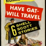 """Have Gat—Will Travel"" by Richard S. Pranther. 1957. Throughout the late 1930s, Penguin Books and Pocket Books dominated the American paperback industry with their cheap reprints of books that had already appeared in hardcover. Fawcett Books, a smaller company that marketed primarily crime novels and westerns to a male audience, had difficulty paying copyright costs for existing titles. In the late 1940s, therefore, Fawcett introduced Gold Medal Books, a line of 25-cent paperback originals. Gold Medal Books was the first paperback imprint to use exclusively original material, and it launched the careers of multiple pulp writers—such as Richard S. Pranther and Kurt Vonnegut—who abandoned magazines to get advances from Fawcett. Gold Medal Books also became well known for their aggressive and sensational advertising campaigns, as you can gather from the moxie-filled copy on the back cover of this 1957 edition of ""Have Gat—Will Travel."" The Ransom Center's Ellery Queen book collection houses a large number of Gold Medal Books published by Fawcett in the 1940s and 1950s."