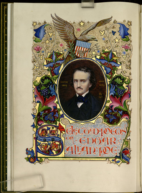 "Title page of the illuminated manuscript of ""Selected Poems of Edgar Allan Poe"" bound by Sangorski & Sutcliffe. Photo by Pete Smith."